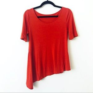 ANTHROPOLOGIE Orange Asymmetrical Hem Tee
